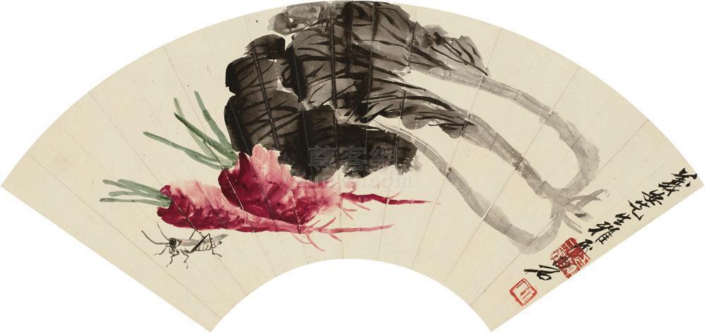 齐白石 消夏图 扇面 设色纸本作品欣赏