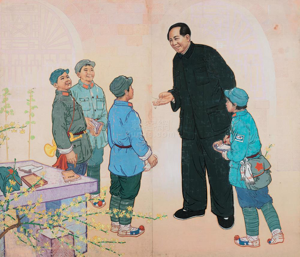 佚名 毛主席和小八路 镜片 设色纸本 佚名 毛主席和小八路 作品欣赏