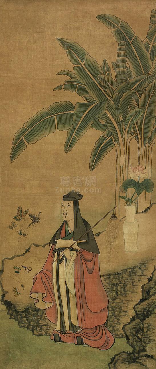 佚名 芭蕉高士 立轴  佚名 芭蕉高士 立轴作品欣赏