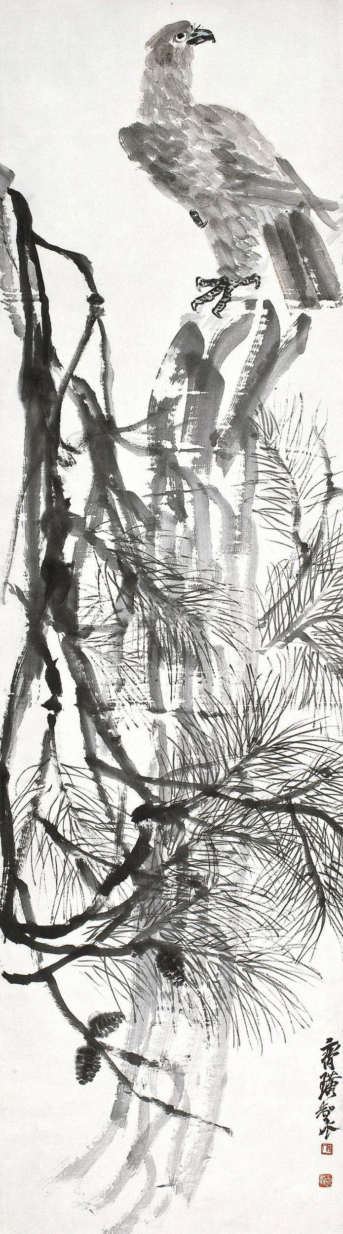 齐白石 松鹰 立轴 设色纸本作品欣赏