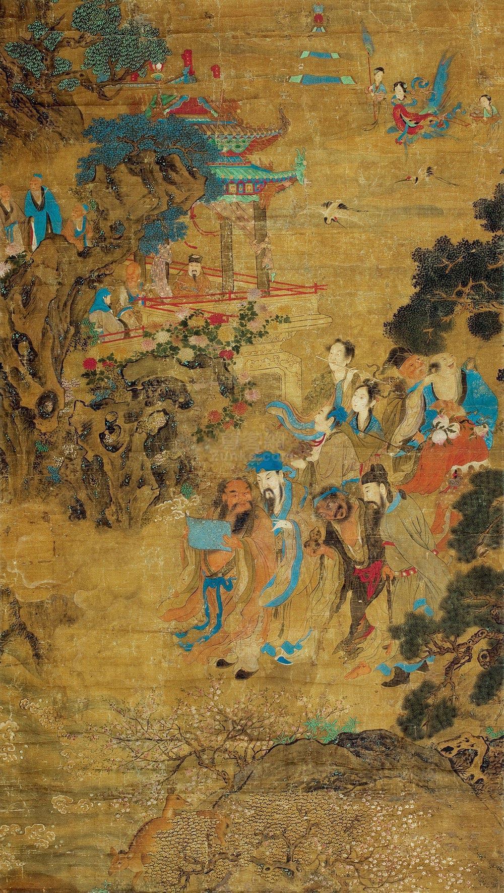 佚名 神仙图 立轴 设色绢本作品欣赏