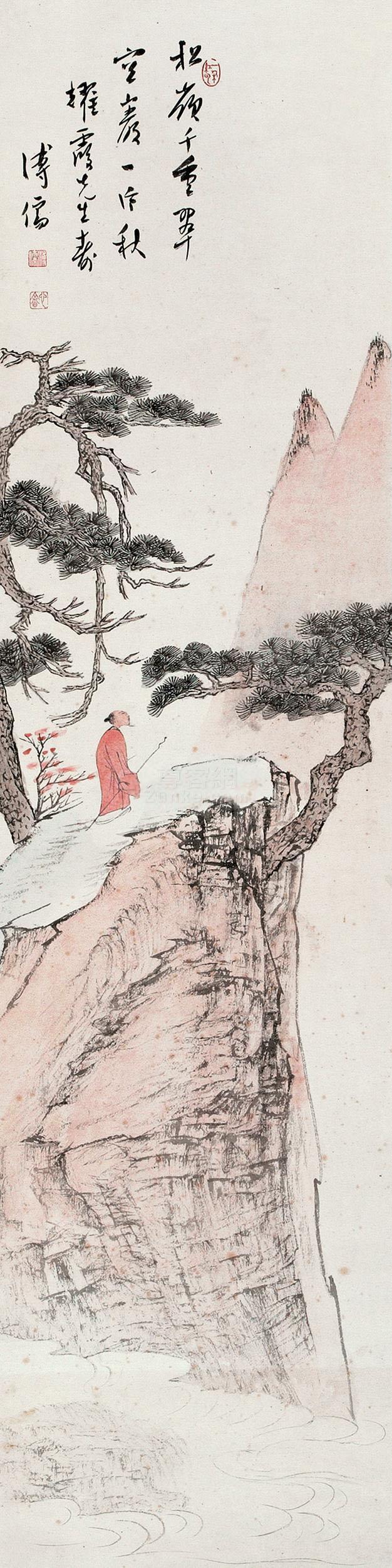 溥儒 松岭千重翠 镜片 设色纸本作品欣赏