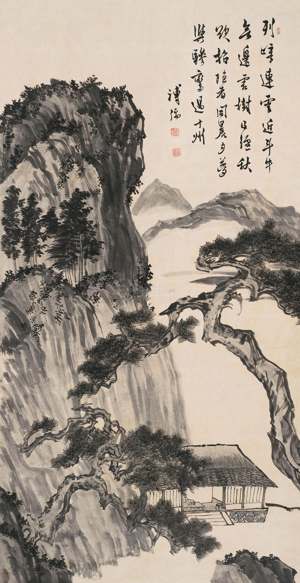 溥儒 列峰连云 立轴 纸本作品欣赏