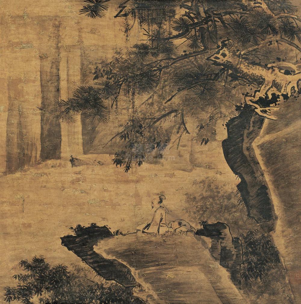 佚名 松溪观流 立轴 水墨纸本作品欣赏