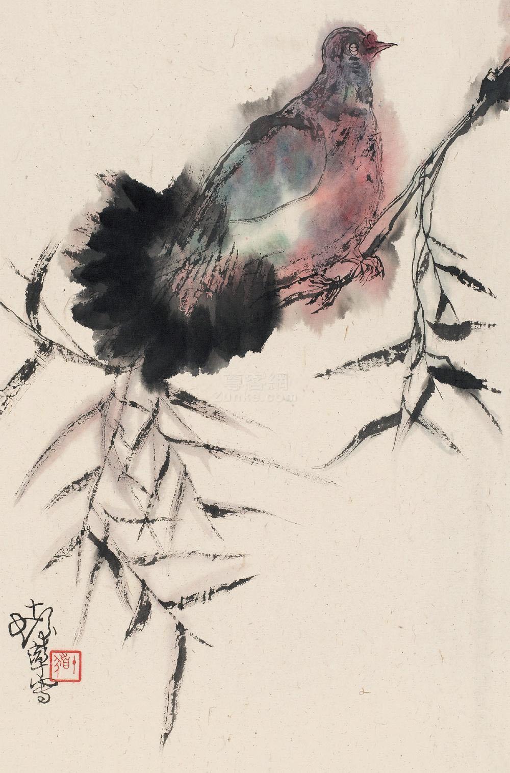 溥儒 书画双挖 扇页 纸本作品欣赏