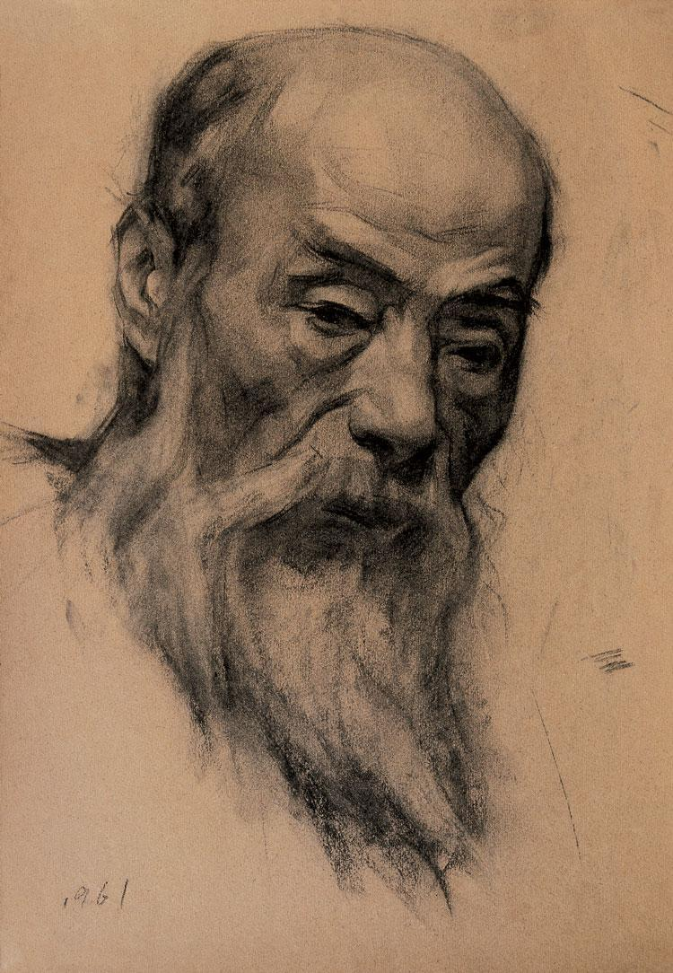 靳尚谊作品 素描作品 老汉 当代书法绘画作品