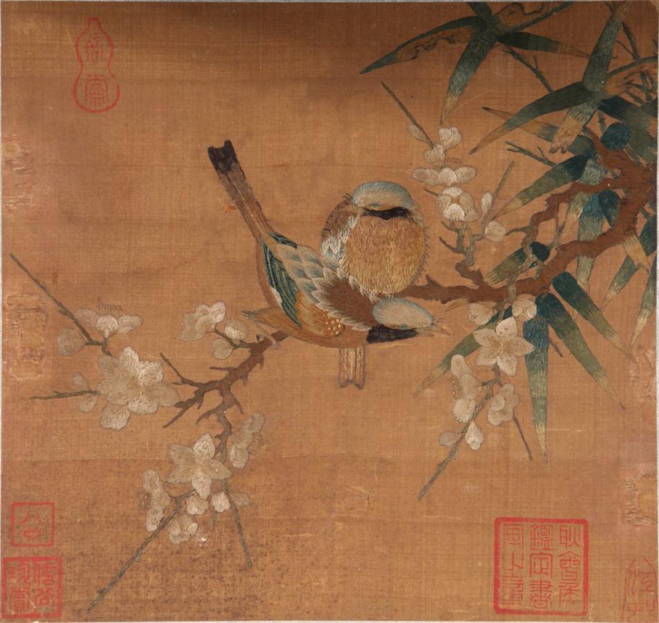 南宋至元 仿画绣《梅花山禽图》图片一作品欣赏