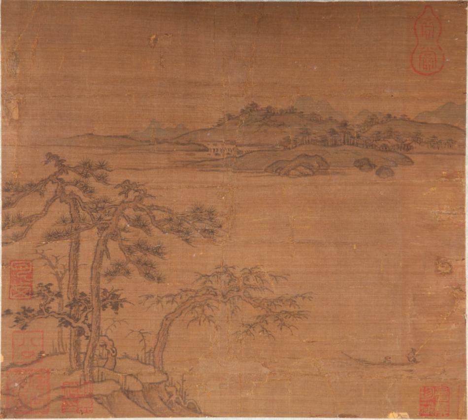 元 佚名《江中垂钓图》图片一作品欣赏