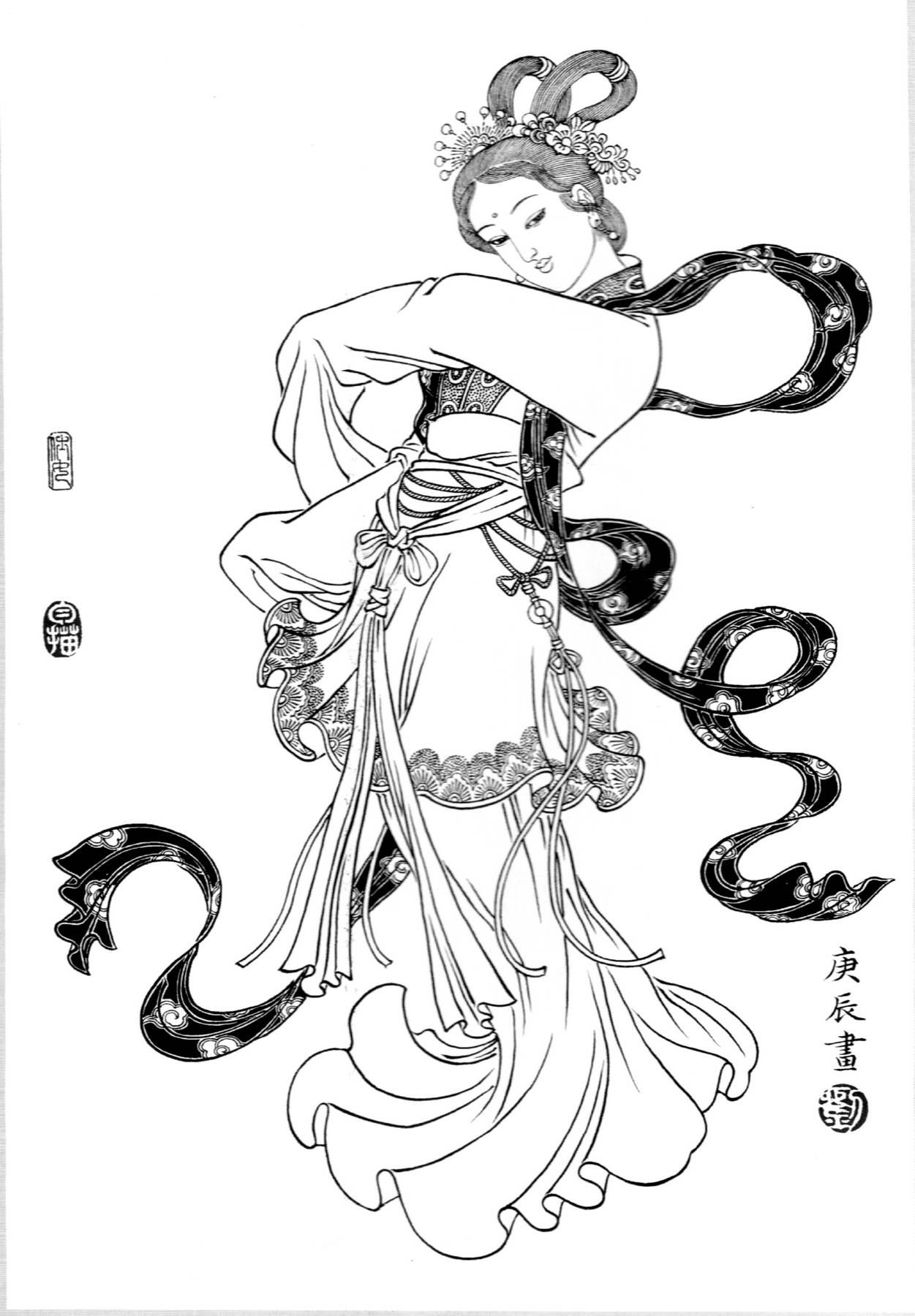 []0002_工笔画刘公华白描仕女白描线稿素材高清图2宫舞_0x0px_jpg_600