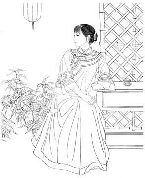工笔画人物仕女白描线稿素材高清图