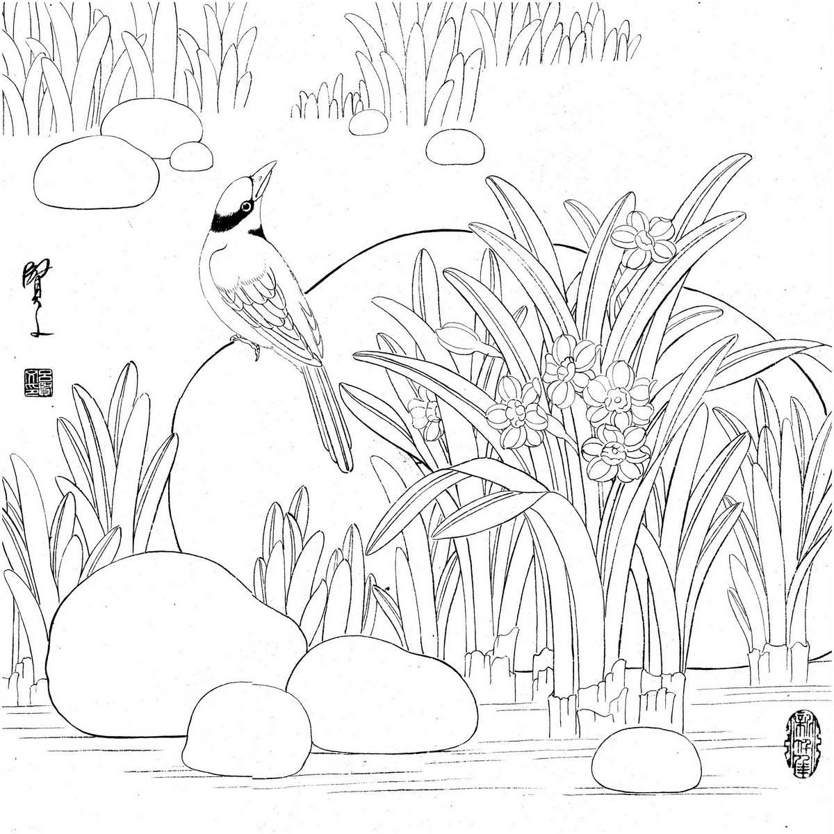 0019_工笔画花鸟白描线稿素材高清图19_0x0PX_JPG_600DPI_3