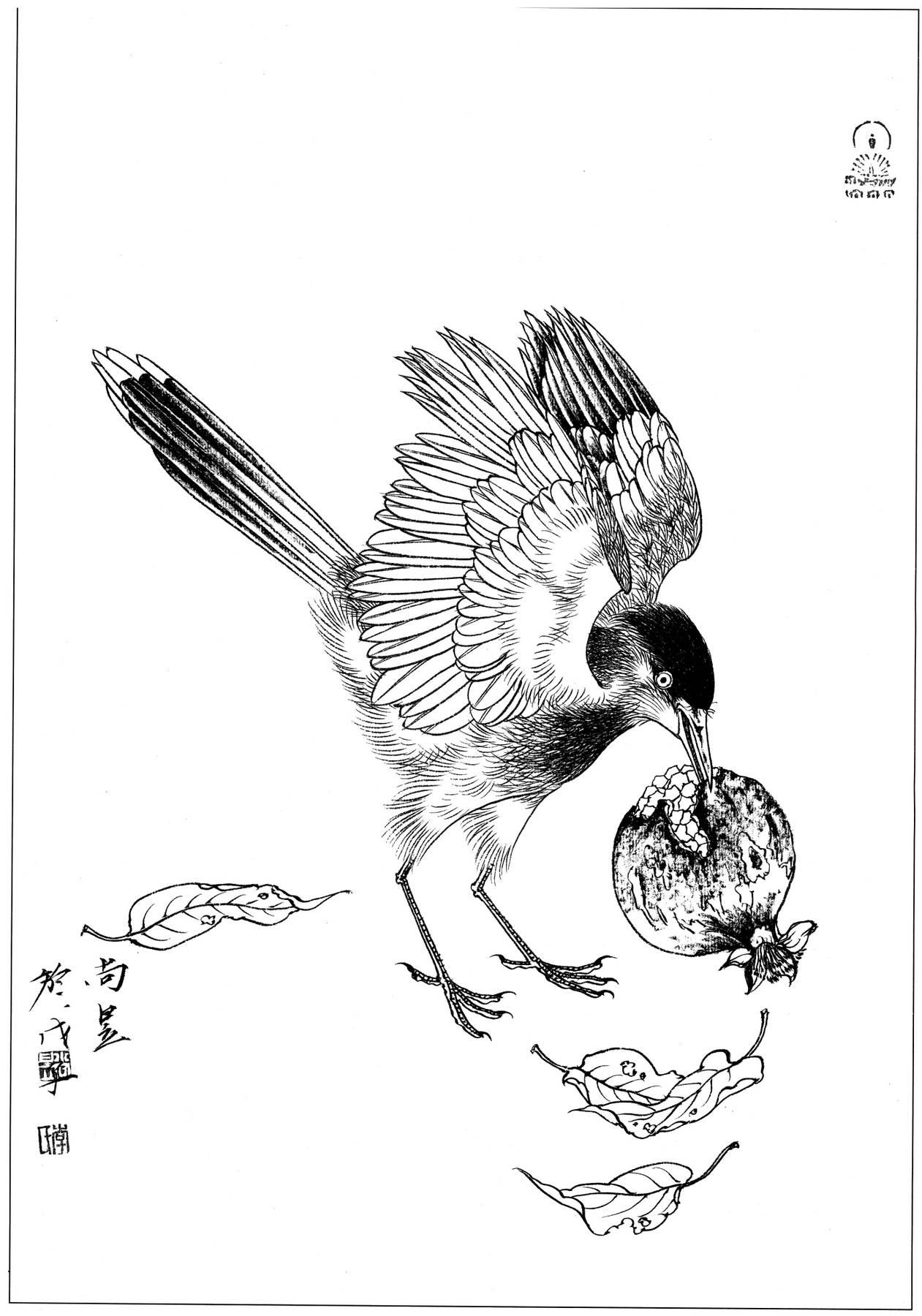 0159_工笔画花鸟白描线稿素材高清图喜鹊1_0x0PX_JPG_600DPI_3