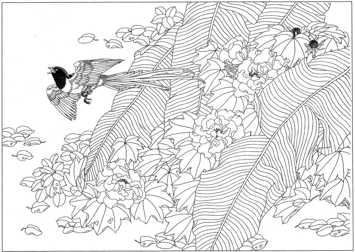 0160_工笔画花鸟白描线稿素材高清图喜鹊_0x0px_jpg_600dpi_3