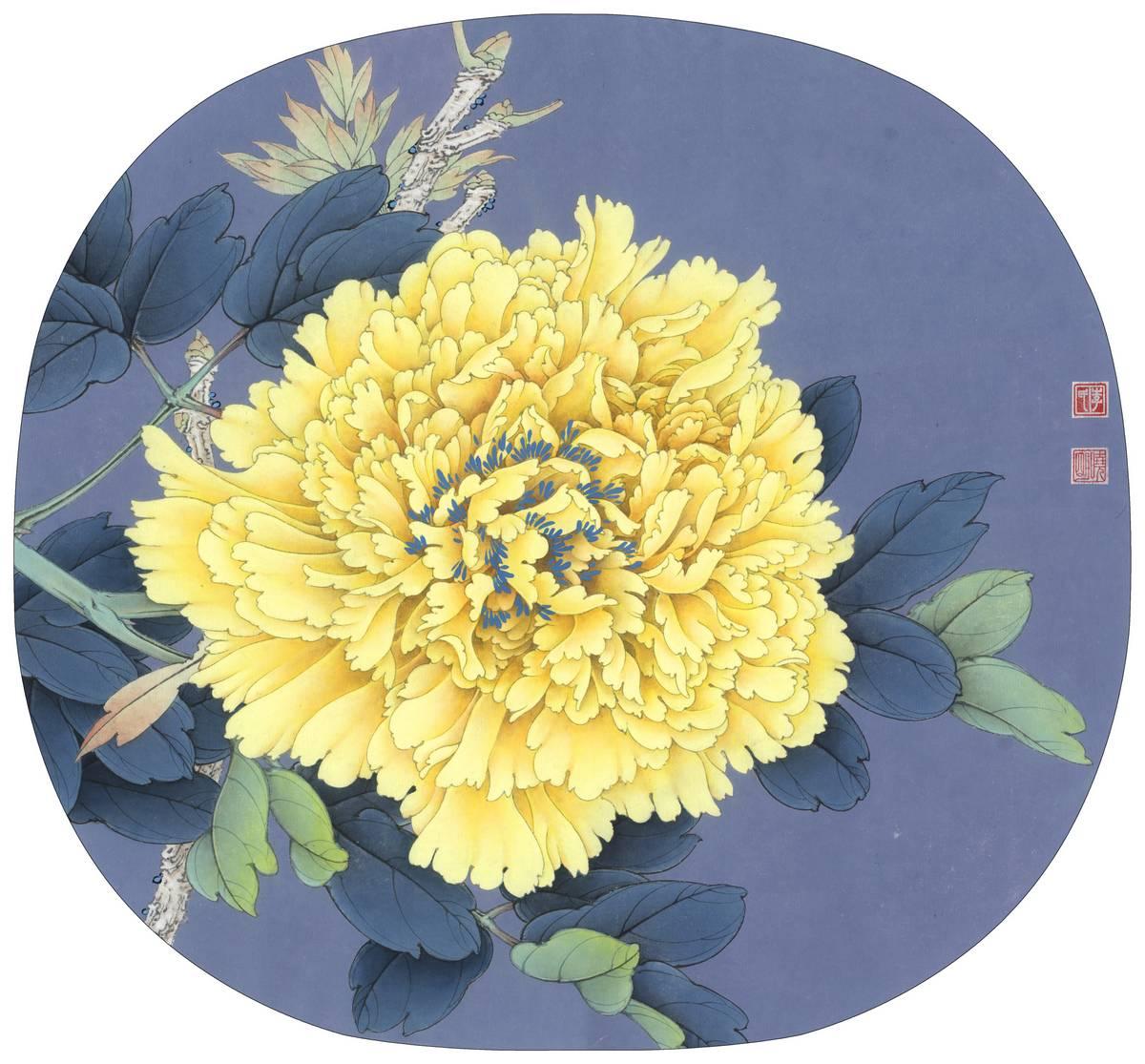 0039_李晓明牡丹工笔画高清图专辑JPG-牡丹团扇四小品之4_5079x4724PX_JPG_300DPI_5.4